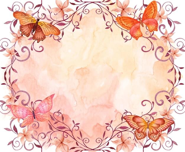 飛んでいる蝶と手描きの水彩花の背景