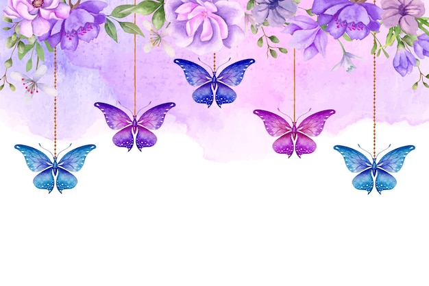 蝶がぶら下がっている手描きの水彩花の背景