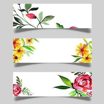 Bandiere floreali dell'acquerello disegnato a mano