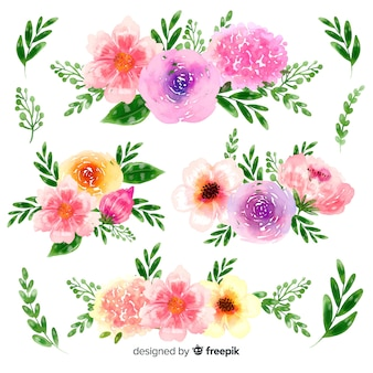 Hand-drawn watercolor floral bouquet collection
