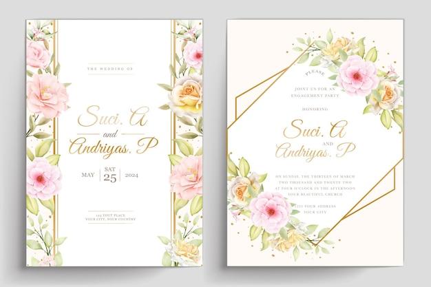 손으로 그린 수채화 꽃 카드 세트