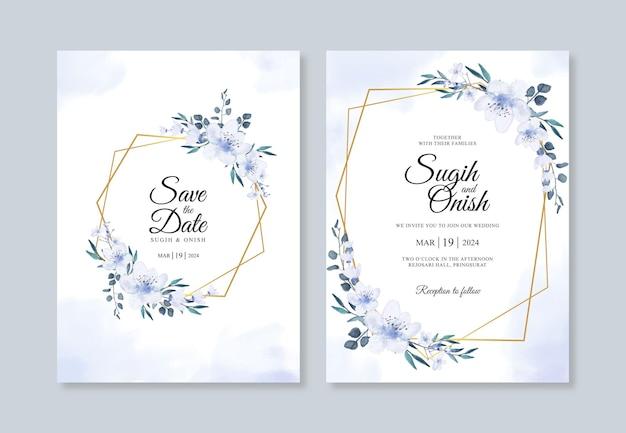 Ручной обращается акварель цветочные для красивого шаблона свадебного приглашения