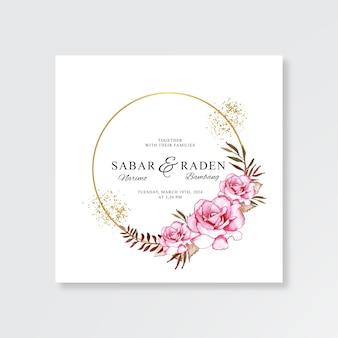 Ручной обращается акварель цветочные для шаблона свадебной открытки