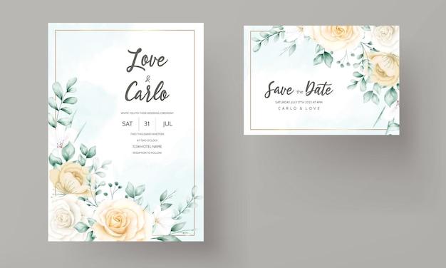 Biglietto d'invito per matrimonio con cornice floreale ad acquerello disegnato a mano