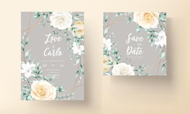 手描き水彩花フレーム結婚式の招待カード