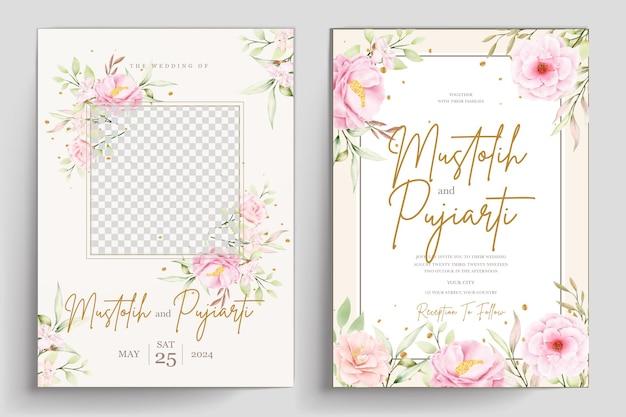 手描き水彩花の招待カードセット