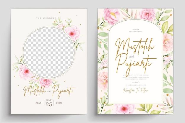 Set di carte di invito floreale acquerello disegnato a mano