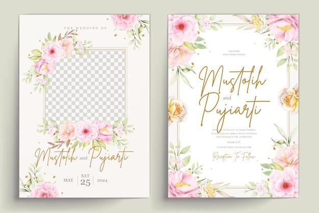 손으로 그린 수채화 꽃 초대 카드 세트