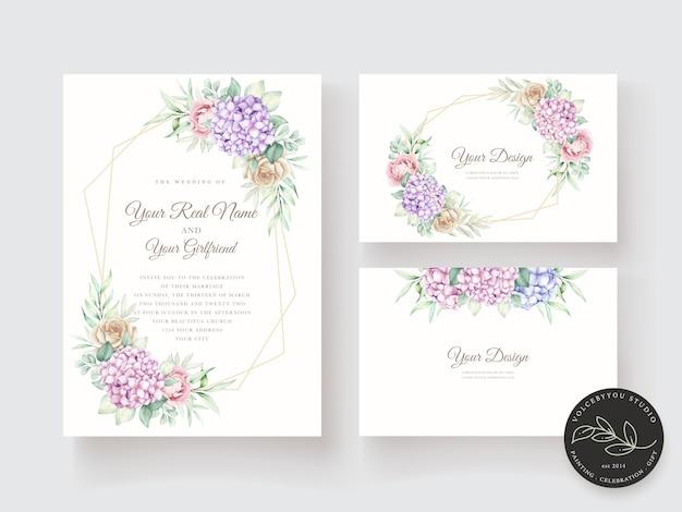 손으로 그린 수채화 꽃 초대 카드 서식 파일