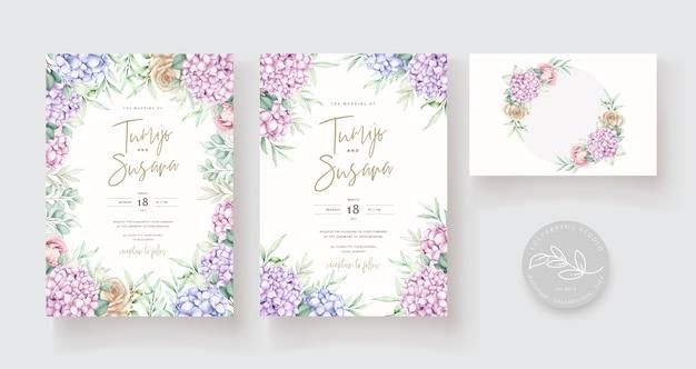 Ручной обращается акварель цветочные приглашения карты шаблон