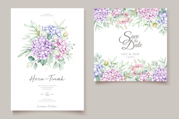 手描き水彩花招待カード