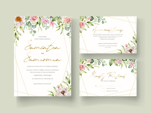 Hand drawn watercolor floral invitation card
