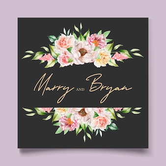 손으로 그린 수채화 꽃 초대 카드