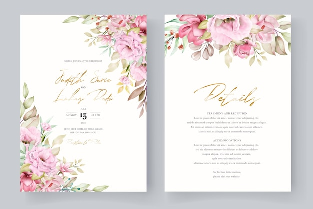 手描きの水彩花の招待カード