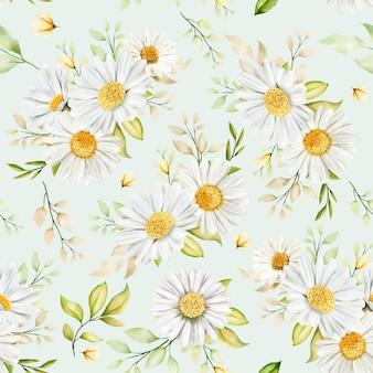 손으로 그린 수채화 꽃 원활한 패턴