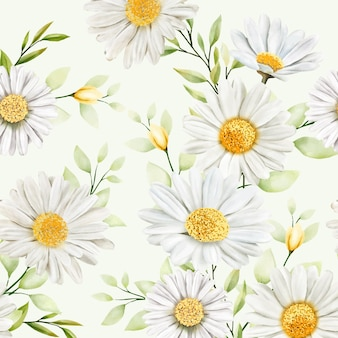 Hand drawn watercolor floral seamless pattern