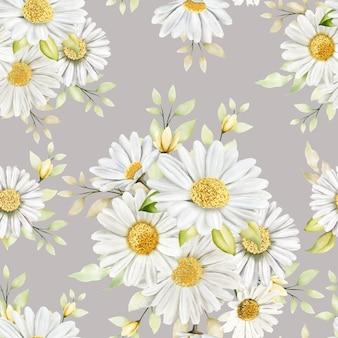 手描きの水彩花のシームレスなパターン