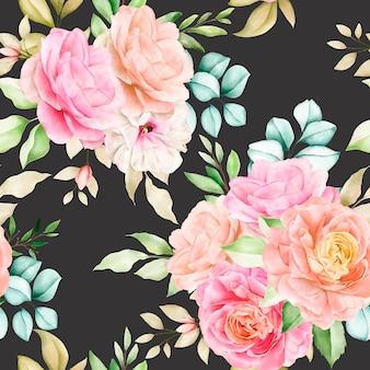 Reticolo senza giunte floreale dell'acquerello disegnato a mano
