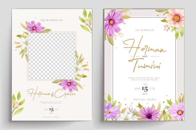 손으로 그린된 수채화 꽃 원활한 패턴