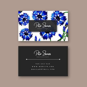 Hand drawn watercolor floral visiting card