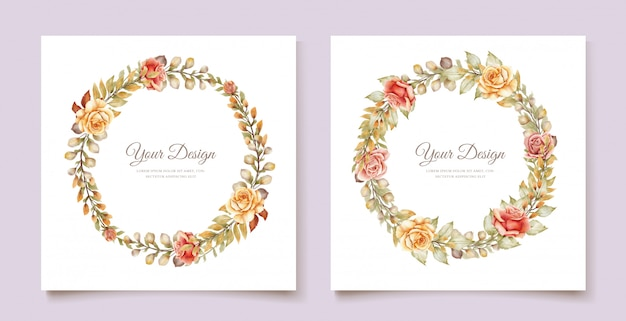 手描き水彩花結婚式カード