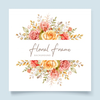 Hand drawn watercolor floral wedding card