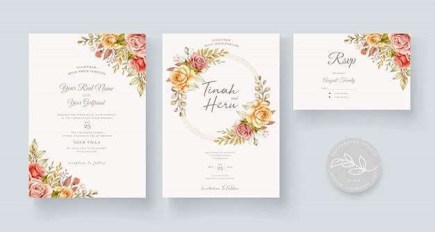 손으로 그린 수채화 꽃 웨딩 카드
