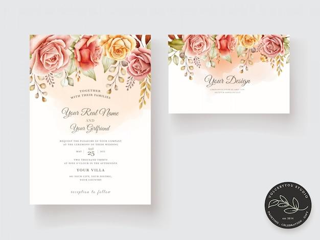 Partecipazione di nozze floreale dell'acquerello disegnato a mano