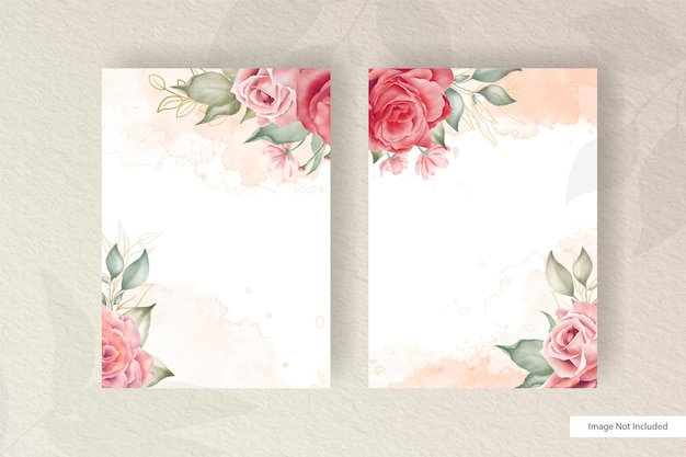 Hand drawn watercolor floral wedding invitation card template with minimalist arrangement flower and leaves element