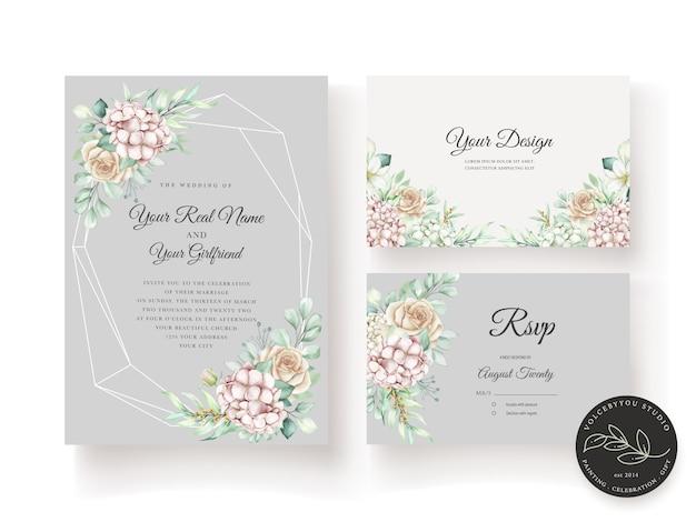 Ручной обращается акварель цветочные свадебные приглашения карты шаблон