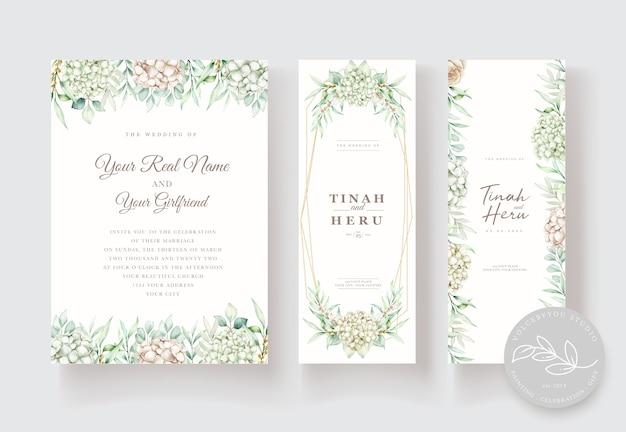손으로 그린 수채화 꽃 결혼식 초대 카드 템플릿