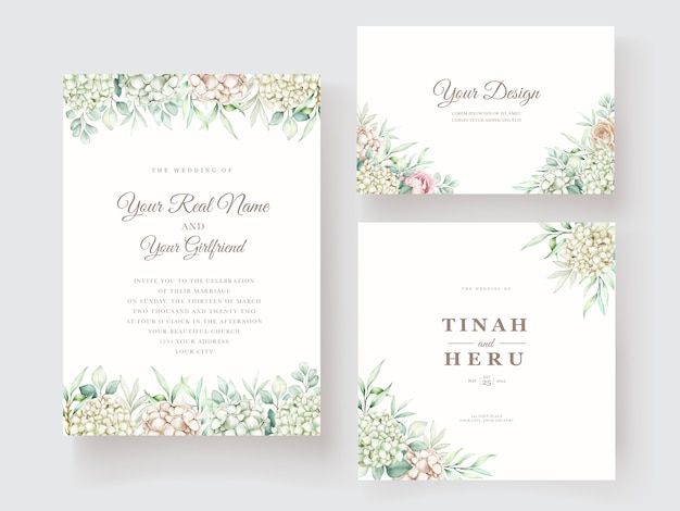 Hand drawn watercolor floral wedding invitation card template