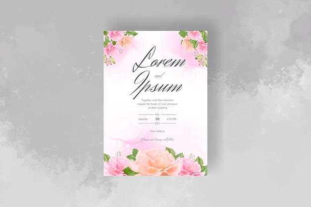Hand drawn watercolor floral wedding invitation template
