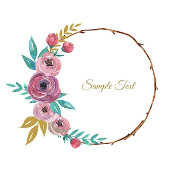 Hand drawn watercolor floral wreath with modern pink roses flowers and leaves