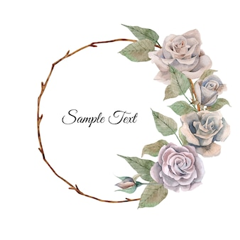 Hand drawn watercolor floral wreath with romantic roses flowers and leaves