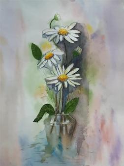 手描きの水彩花の背景画