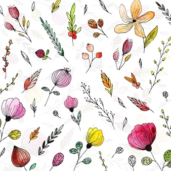 Hand drawn watercolor flowers background