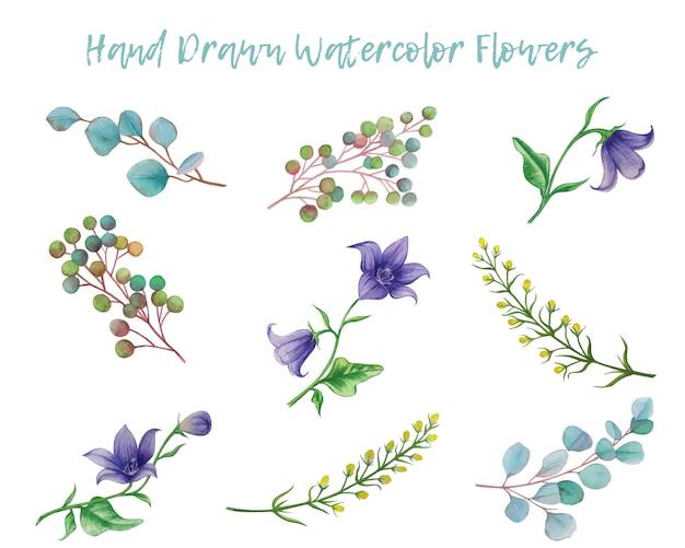 손으로 그린 수채화 꽃 요소 집합
