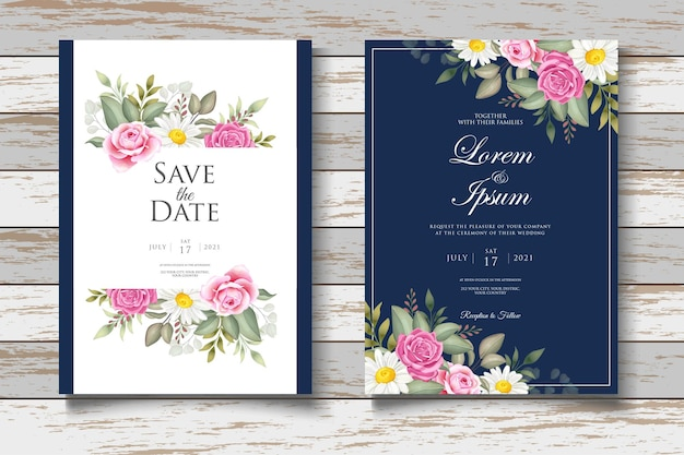 手描きの水彩画のフォラル結婚式の招待カード