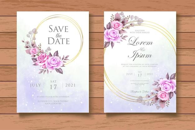 Hand drawn watercolor foral wedding invitation card
