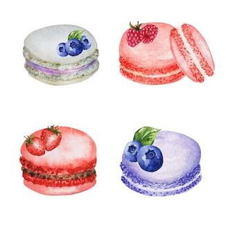 손으로 그린 수채화 프랑스 마카롱 케이크 세트. 흰색 배경에 화려한 디저트 마카롱 비스킷, 딸기와 달콤한, 딸기, 블루 베리, 라즈베리