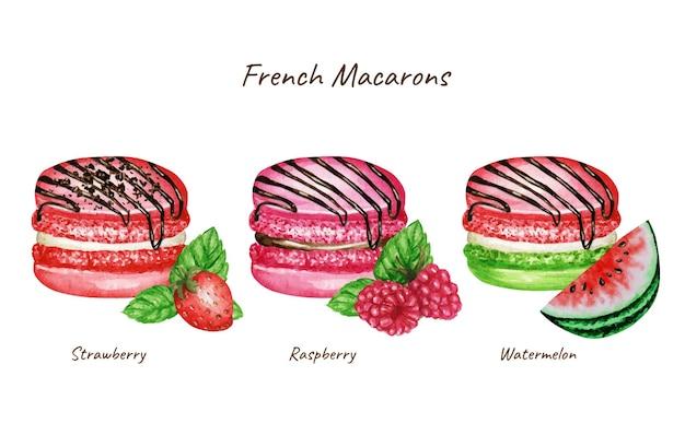 손으로 그린 수채화 프랑스 마카롱 케이크 세트. 수박 레드 핑크 그린 과일 과자 디저트 격리 됨