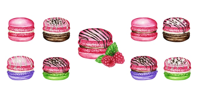 Hand drawn watercolor french macaron cakes set