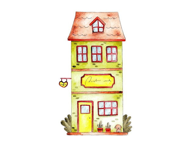 Hand drawn watercolor front store vector illustration