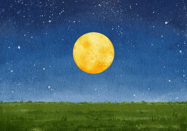 손으로 그린 수채화 보름달 풍경 배경 포스터