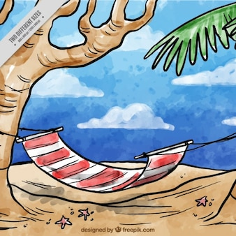 Hand drawn watercolor hammock on the beach background