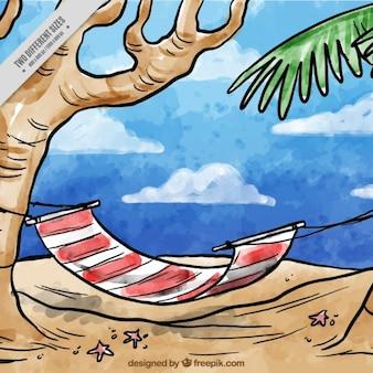 Ручной обращается акварель гамаке на пляже фоне