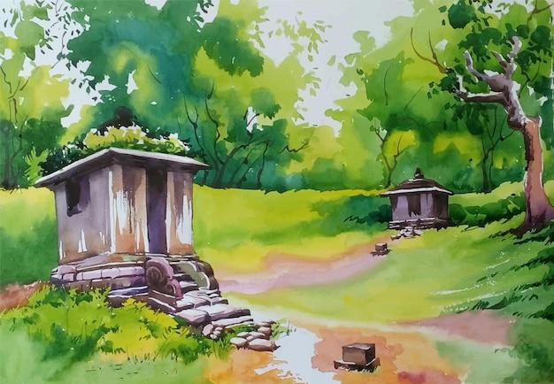 숲 그림에서 손으로 그린 수채화 집