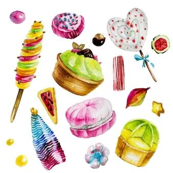 デザートの手描き水彩イラスト。