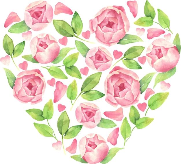 牡丹の花、心と葉を持つ心の手描き水彩イラスト。